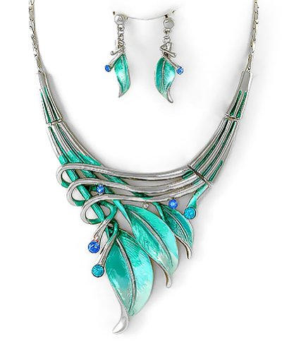 PammyJ Silvertone Aqua Blue Leaf Statement Necklace and Earrings Set, 16