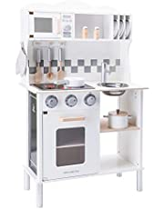 New Classic Toys Wooden Pretend Toy Kitchen for Kids with Role Play Bon