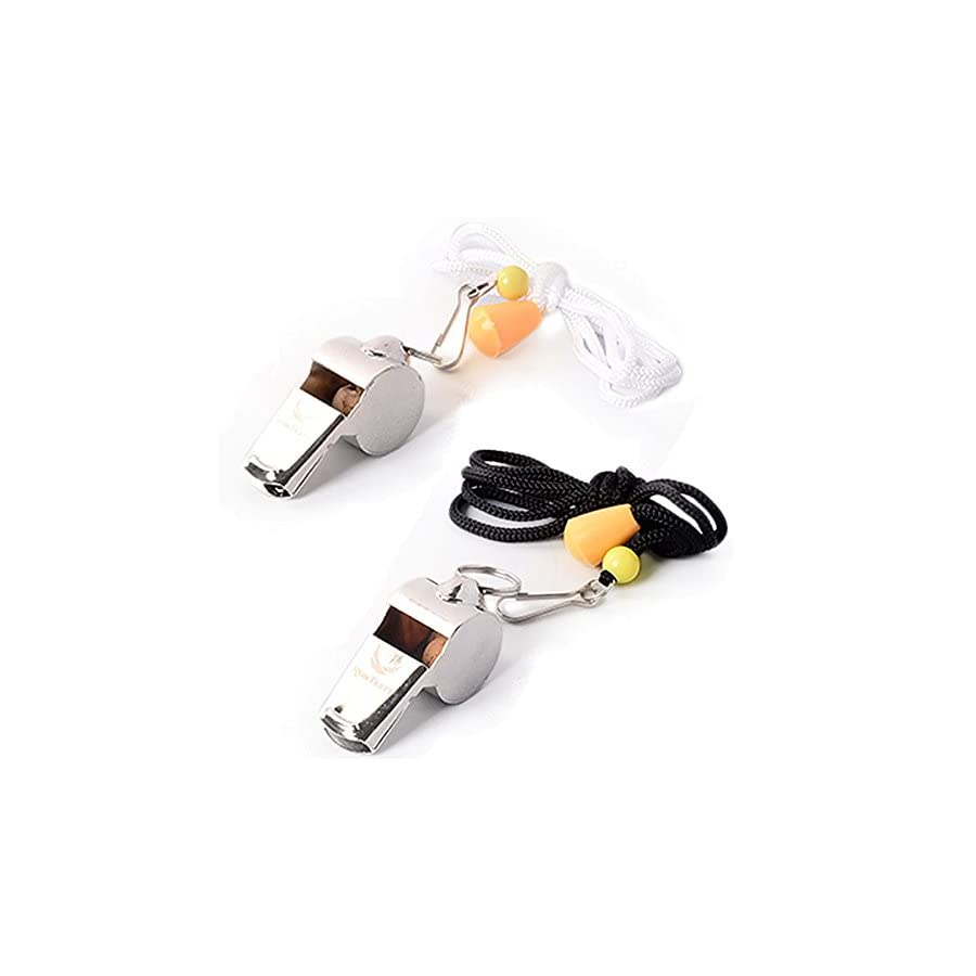[Voted #1 Whistles] Premium Metal Whistle Pack of 2 with Adjustable & Removable Lanyard. Ideal for Teacher, Football/Basketball / Soccer Coach, Sports, Safety, Emergency or Protection!
