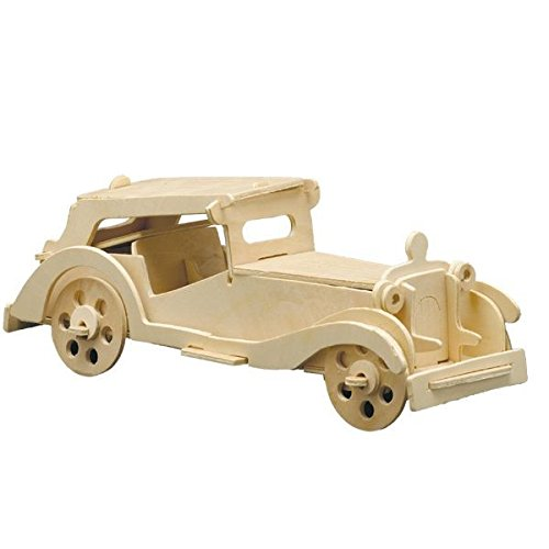 Holz Bausatz Oldtimer Auto MGTC 41-tlg. 27x10 cm Steckbausatz f. Kinder Holzbausatz