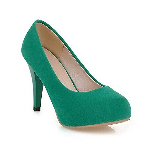 Amoonyfashion Da Donna Smerigliato Tacco Alto A Punta Chiusa Con Tacco Alto Pompe-scarpe Verdi