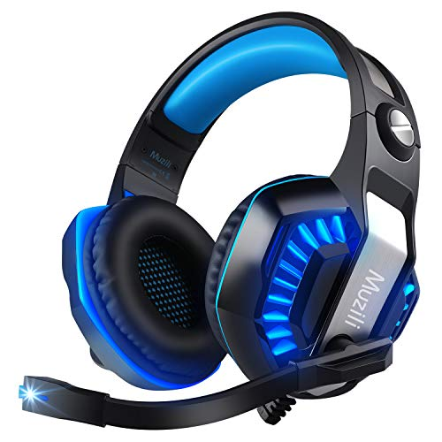Gaming Headset for PS4, PC, Xbox One Controller, Muzili 7.1 Surround Stereo Sound Over Ear USB Game Headphones with Noise Cancelling mic Compatible with Nintendo Switch, Mac, Tablets, Smartphones