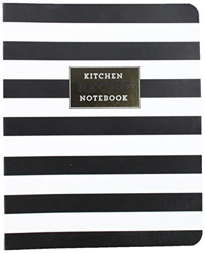 C.R. Gibson Black and White Striped Spiral Recipe Journal, 100 Pages, 7.25