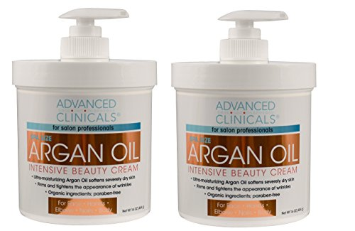 Advanced Clinicals Spa Size Pure Argan Oil Intensive Beauty Cream. Anti-aging Cream for Wrinkles and Dry Skin. (Two - 16oz) (Beauty Spa Skin)
