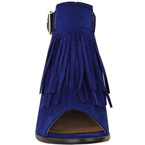 Moda Donna Assetata Basso Blocco Tallone Sandali Estate Nappa Punta Aperta Cinturino Cinturino Blu Cobalto Faux Suede