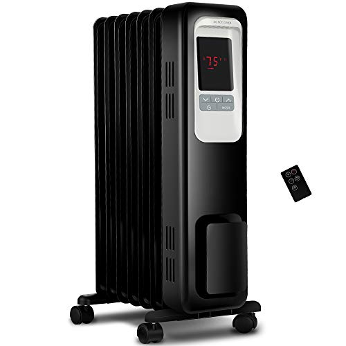 Aikoper Space Heater, 1500W Oil Filled Radiator heater with 24-Hours Timer, Remote Control, Digital Thermostat, Tip-over & Overheat Protection, Electric Portable Heater for Full Room Indoor Office