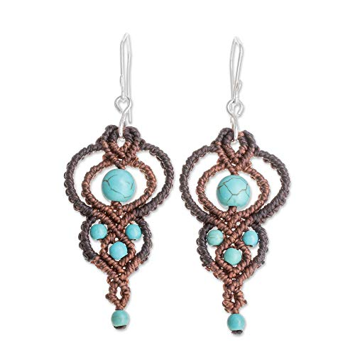 - NOVICA Reconstituted Turquoise .925 Sterling Silver Dangle Earrings, Distant Sands'