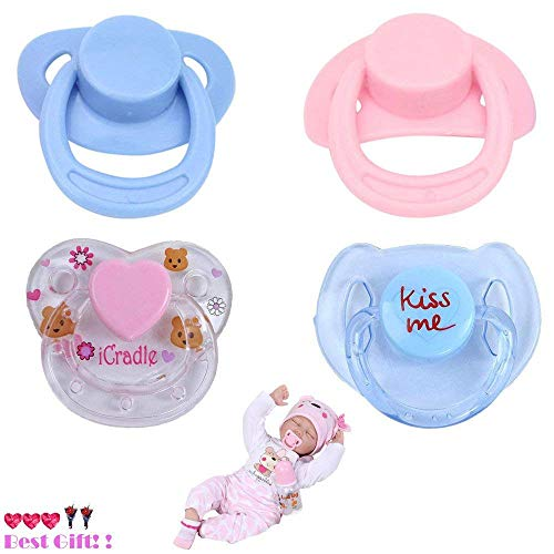 (JonerytimeBaby Toy 4PC New Dummy Pacifier for Reborn Baby Dolls with Internal Magnetic Accessories)