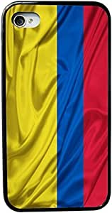 Rikki KnightTM Colombia Flag Design iPhone 4 & 4s Black Case Cover (Black Rubber with bumper protection) for Apple iPhone 4 & 4s by mcsharks