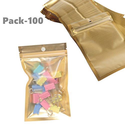 Wekoil Mylar Bags Zip Lock Clear Golden Front Aluminum Foil Wrapper Bags Resealable Packaging Storing Zipper Pouches Bulk Food Saver Lined Grip Wrap 10cmx18cm/4 x7,Pack 100 Bags. by Wekoil (Image #6)