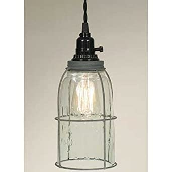 Half Gallon Caged Mason Jar Pendant Lamp – Barn Roof