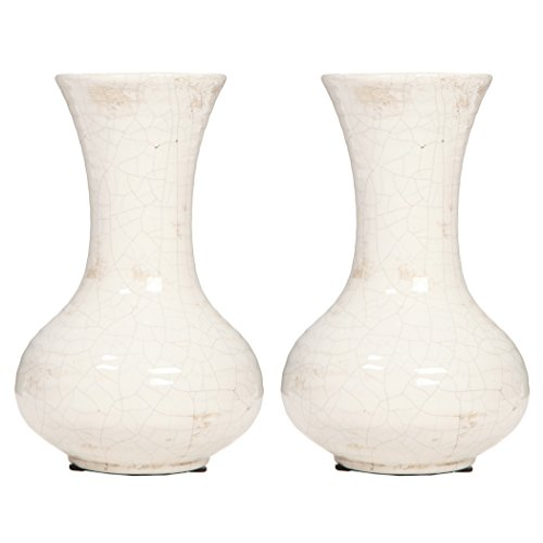 Hosley's Set of 2 Ceramic Crackle Vases - 8.5
