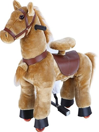 Beige Brown Pony SMALL Trotting Action Horse Pony Ages 2-5 Boys & Girl Ride on Cycle Giddy Up Cowboy! by TODDLER TOYS by Hammond toys