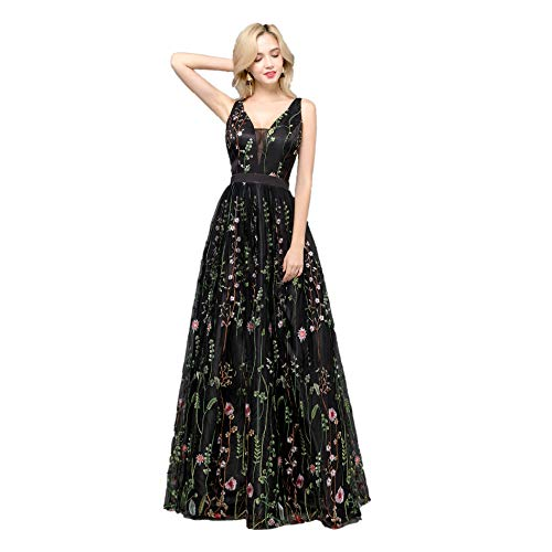 Floral Embroidered Dress - YSMei Women's V Neck Floral Embroidered Prom Dress Long Evening Formal Party Gown Black 10