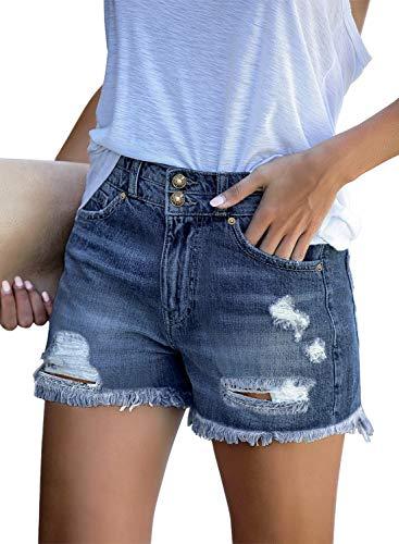 luvamia Women Mid Rise Shorts Frayed Raw Hem Ripped Denim Jean Shorts