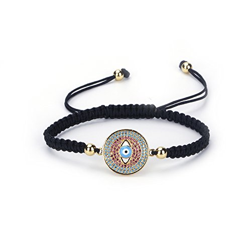 Gold Hand Woven Rope - UBeata Evil Eyes Macrame Bracelet with Boho Braided 4mm Copper Beads Hand-woven Micro Red Blue CZ Paved Adjustable Rope Charm(Gold)
