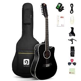 Vangoa 12 String Guitar, Acoustic-electric Dreadnought Cutaway Guitar Bundle, Spruce Top, Bone Nut, Black, Matte(VA20CE…