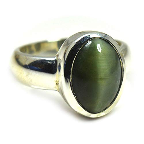 Jewelryonclick 3 Carat Natural Cat's Eye Silver Ring for Women Chakra Healing Gemstone Jewelry Size 5-13