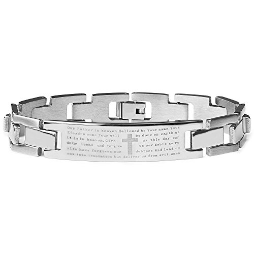 West Coast Jewelry | Crucible Men's Stainless Steel Etched Lord's Prayer ID Chain Link Bracelet 8.5