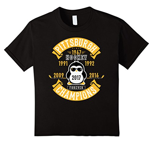 [unisex-child Pittsburgh Hockey 5 Times Cup Champions Cool Penguin Tshirt 10 Black] (Stanley Cup T-shirt)