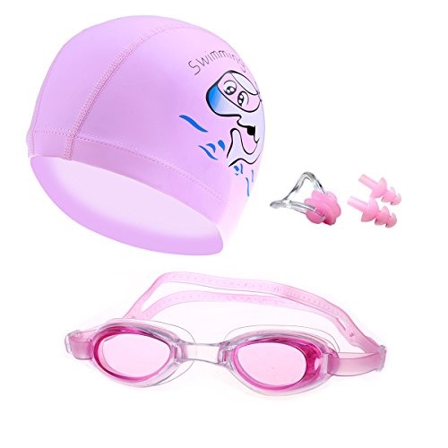 CRIVERS Cartoon-Style Swimming Goggle Set, Swimming Goggles Swimming Cap with Free Nose Clips and Ear Plugs for Kids, Children, Students, Boys & Girls (Pink Set)