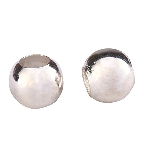 200pcs x 3mm Top Quality Large Hole Seamless Smooth Spacer Beads Sterling Silver Plated Metal Beads (Hole ~1.5mm) CF87-3 (Best Cord For Mala Beads)