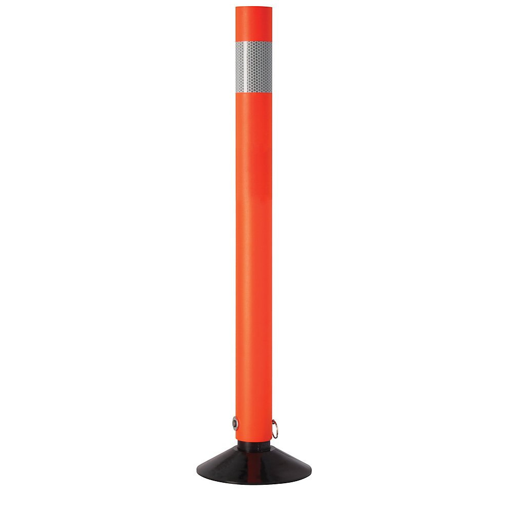 Tapco Re-Bounder Flexible Traffic Delineator Posts With Reflective Band - Sold Individually - 2-1/4 X28'' - Orange With Black Base by Rebounder
