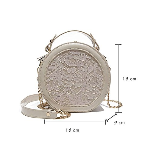 Totes Casual S Floral Round Circular WB478 Leather Lace Patent Elegant Patchwork Handbags Embroidery Female Handbag Bag M Pink Solid 67qd6