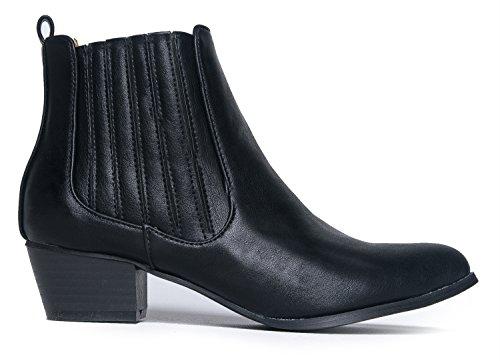J. Stivaletto Elastico Alla Caviglia Con Tacco Basso Adams - Slip On Bootie Con Tacco A Spillo - Comoda Scarpa Western - Henri By Black Pu