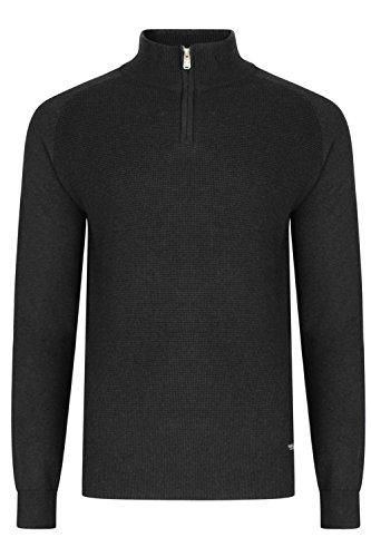 Pullover Threadbare 1 4 Doux Halton Chandail Cou Texturé Hommes Sauteur Haut Zip Profond Noir zqdRRF