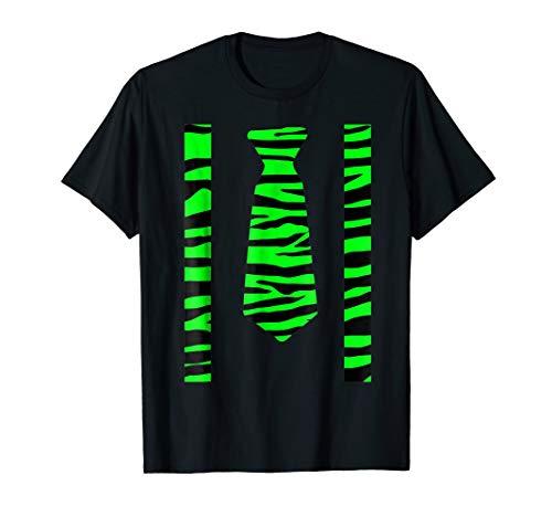 Neon Party Shirt Wild Green Tiger Stripe Tie Suspenders Look