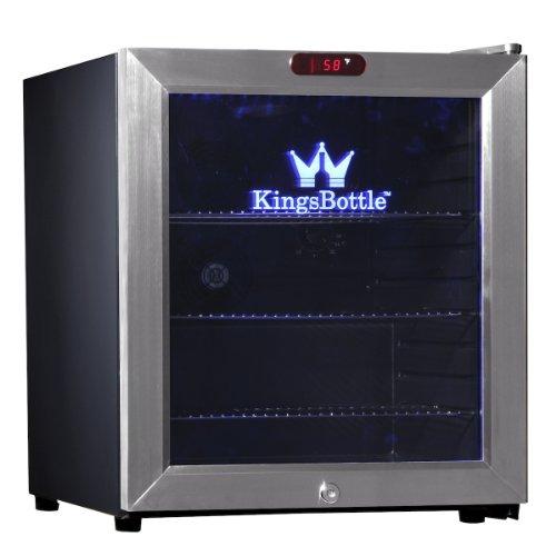 KingsBottle 38 Can Bar Fridge with Glass Door, Mini, Stainless Steel (Kings Bottle Wine Fridge compare prices)