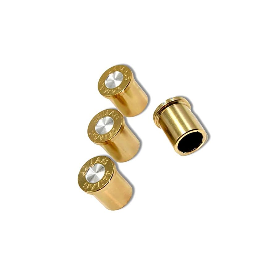 """(4 Count) Cool & Custom """"44 Mag Bullet End"""" Tire Wheel Valve Stem Cap Seal Made of Metal {Gold & Silver Colors Hard Metal Internal Threads for Easy Application Rust Proof Fits For Most Cars}"""