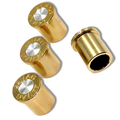 "(4 Count) Cool and Custom ""44 Mag Bullet End with Easy Grip Design"" Tire Wheel Rim Air Valve Stem Dust Cap Seal Made of Genuine Anodized Aluminum Metal {Ultra Ferrari Gold and Silver Colors Hard Metal Internal Threads for Easy Application Rust Proof Fits For Most Cars, Trucks, SUV, RV, ATV, UTV, Motorcycle, Bicycles}"