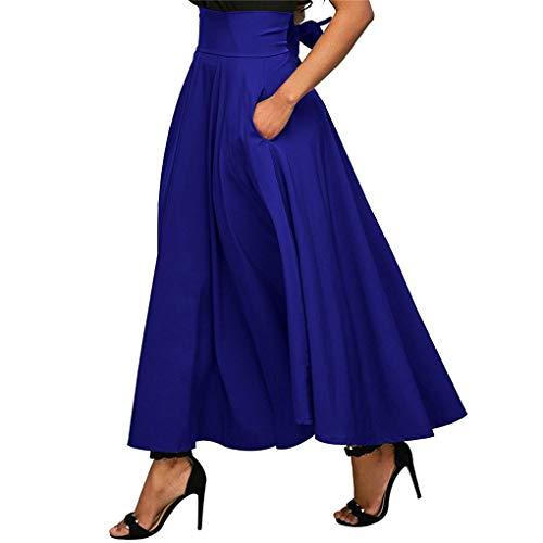 Jupe Solide Haute Femmes Poche Babysbreath17 Jupe fendus Maxi Longue Taille plisse bleu blanche bande Ceinture qaSEv8