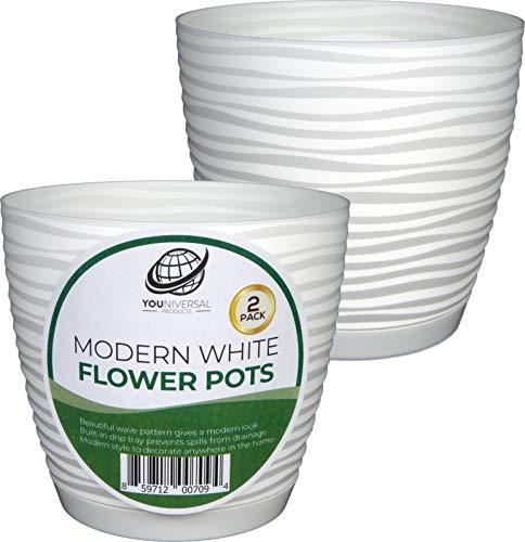 Form Plastic - Modern White Plastic Flower Pot - 2 Pack ()