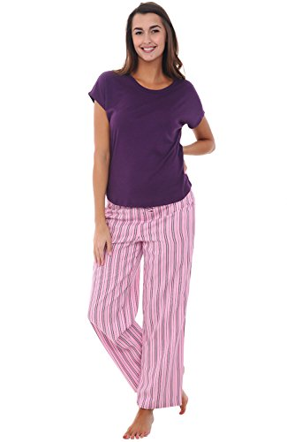 Alexander Del Rossa Womens Modal Knit Pajamas, Long Loose Off The Shoulder Pj Set, 2X Pink Striped (A0420K102X)