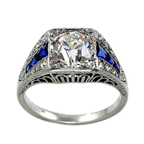 [해외]2019 New Fashion Trend Square Diamond Blue Zircon Ladies Pierced Ring Jewelry Valentine`s Day Gifts for Girlfriend Boyfriend / 2019 New Fashion Trend Square Diamond Blue Zircon Ladies Pierced Ring Jewelry Valentine`s Day Gifts for ...