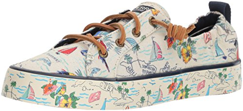 Sperry Top-Sider Women's Crest ebb Map Sneaker, Natural Multi, 6.5 Medium US