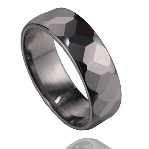 MSK 7mm High Polished Faceted Tungsten Ring Wedding Bands Men Women Silvery Size 6.5 to 11.5 (11.5)
