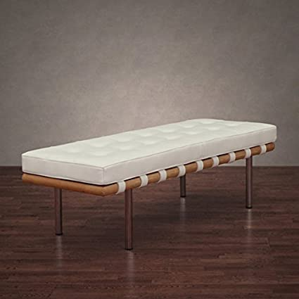 Amazoncom Andalucia 50 Inch Modern White Leather Bench Garden