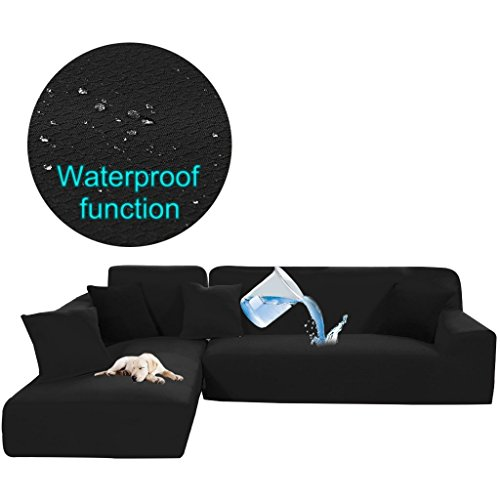 2 Seater Sofa Beds - Taiyucover Stretch L-Shaped Sofa Protector for Cats Dogs Pets;Scratch Proof Waterproof Sofa Slipcovers for L Shape Sectional Chaise Sofa Covers (Black, L-Shaped(3-Seater+2-Seater))