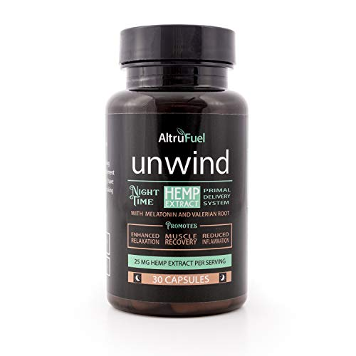 Unwind a Night time Relaxation Supplement with 25 mg Hemp Extract That Promotes Sleep - Natural Ingredients with Melatonin, and Valerian Root- 30 ct- Vegan Capsules