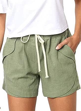 YHBAO Women's Drawstring Elastic Waist Casual Comfy Cotton Linen Beach Shorts - Green - Large
