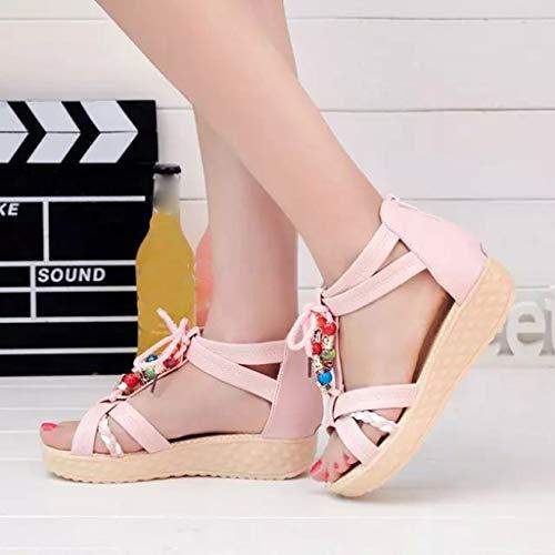 Mujer Antideslizantes La Cuentas Rosa Zapatos Cremallera Sandalias Frauit Con De Playa Bohemio Casuales EO6xnfqZ