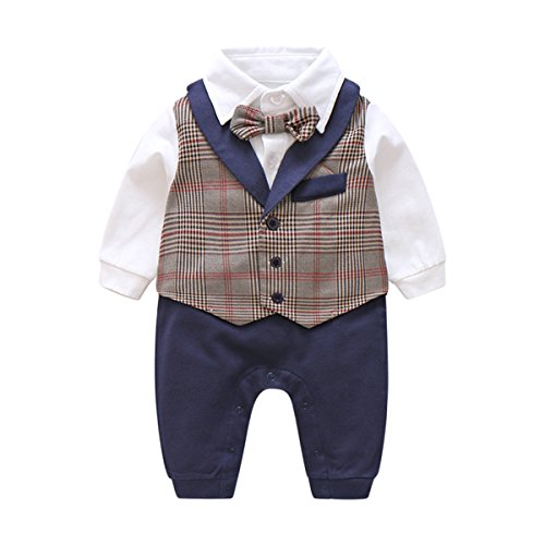 Brown Shirt Grey Pants - Boarnseorl Newborn Baby Boy Suit, 1Pcs Romper Toddler Gentleman Suspenders Formal Outfit Set With Suit Vest & Bowtie,Grey,73 (9-12 months