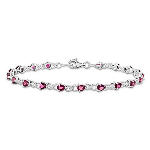 Argent Sterling avec Tourmaline ros'et diamant JewelryWeb Bracelet