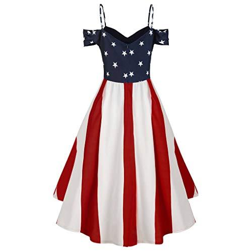 Newlyblouw 2019 New Women Plus Size Sling American Flag Print Dress Summer Off Shoulder Irregular Hem Party Mini Dress White (Cocktail Paper Dress)
