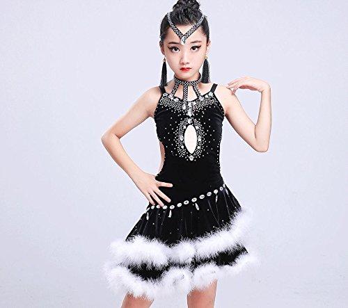 Noir Concours de Danse Latine pour Enfants vêtements Enfants Costumes Enfants vêtements de Spectacle Latine 160cm