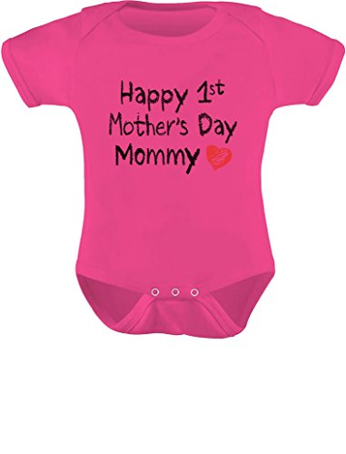 Gift for Mom - Happy First Mothers Day Mommy Infant Baby Bodysuit 12M Wow Pink ()